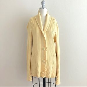 Austin Reed Yellow Ribbed Knit Cardigan